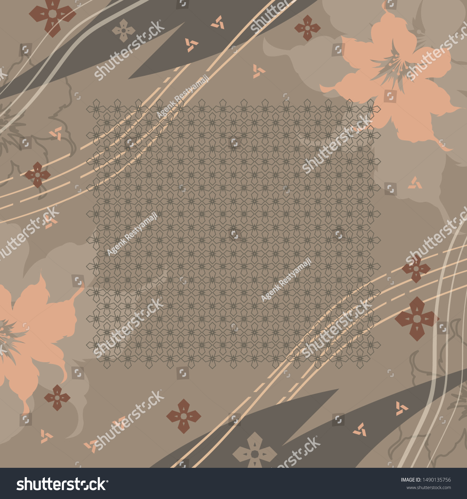 Hijab Design Flower Abstract Lines On Stock Vector (Royalty Free