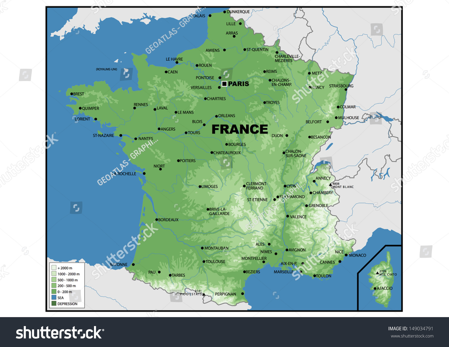 Royalty Free Stock Illustration Of Physical Map France Stock