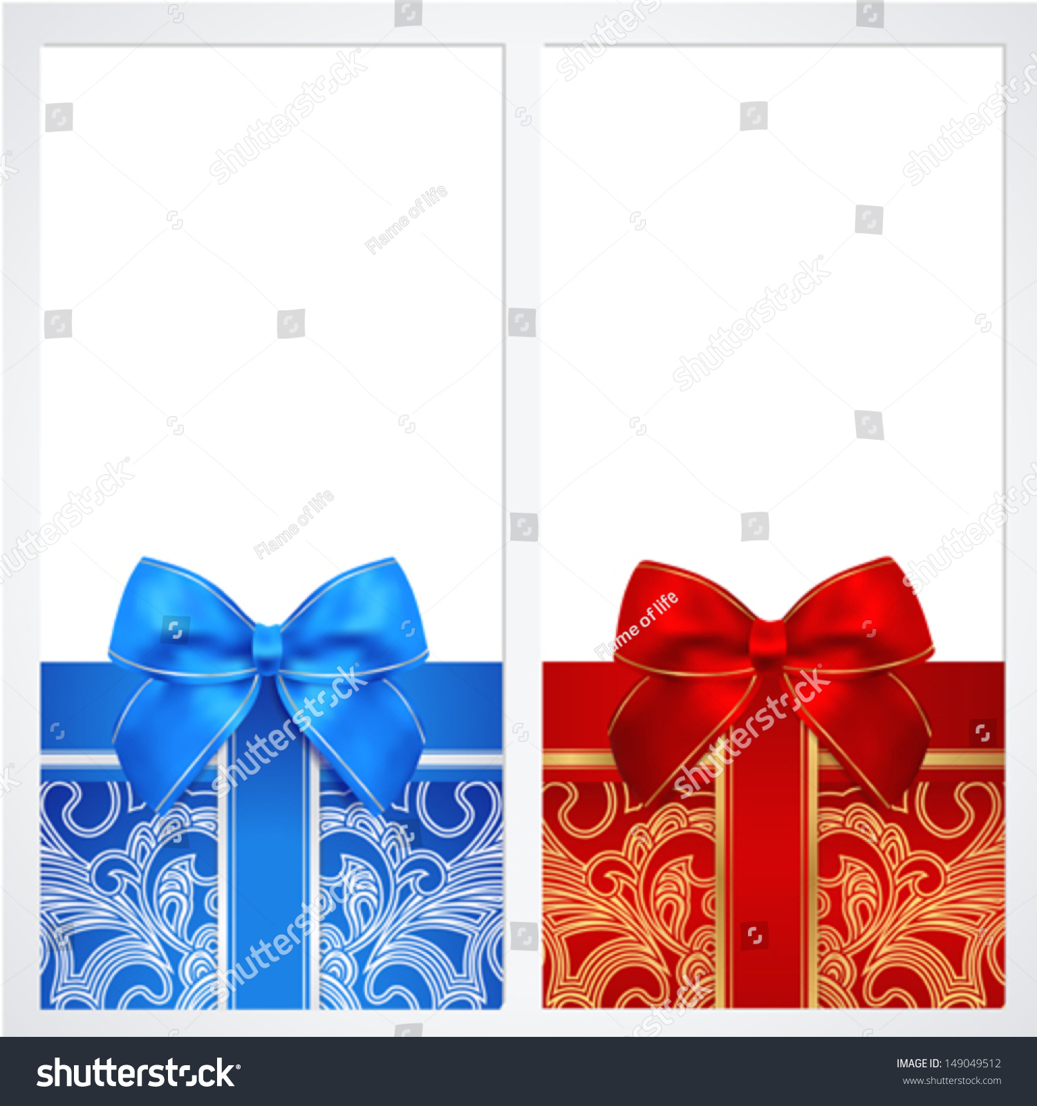 Voucher gift certificate coupon template bow stock vector voucher gift certificate coupon template with bow ribbons present background yadclub Image collections