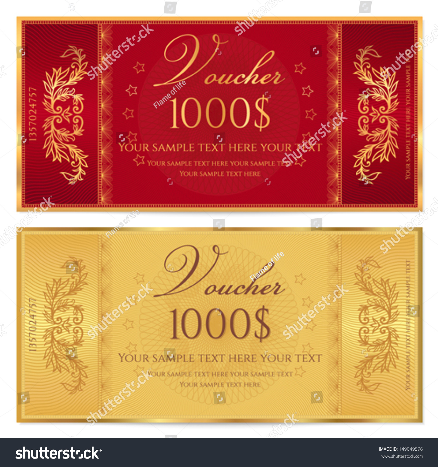 gold ticket voucher gift certificate coupon stock vector  gold ticket voucher gift certificate coupon template floral border background design
