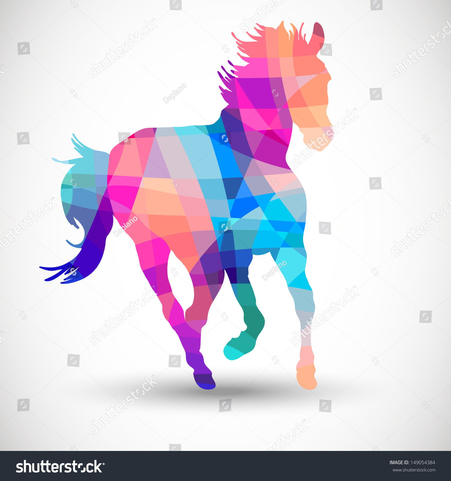 abstract horse geometric shapes stock vector 149054384