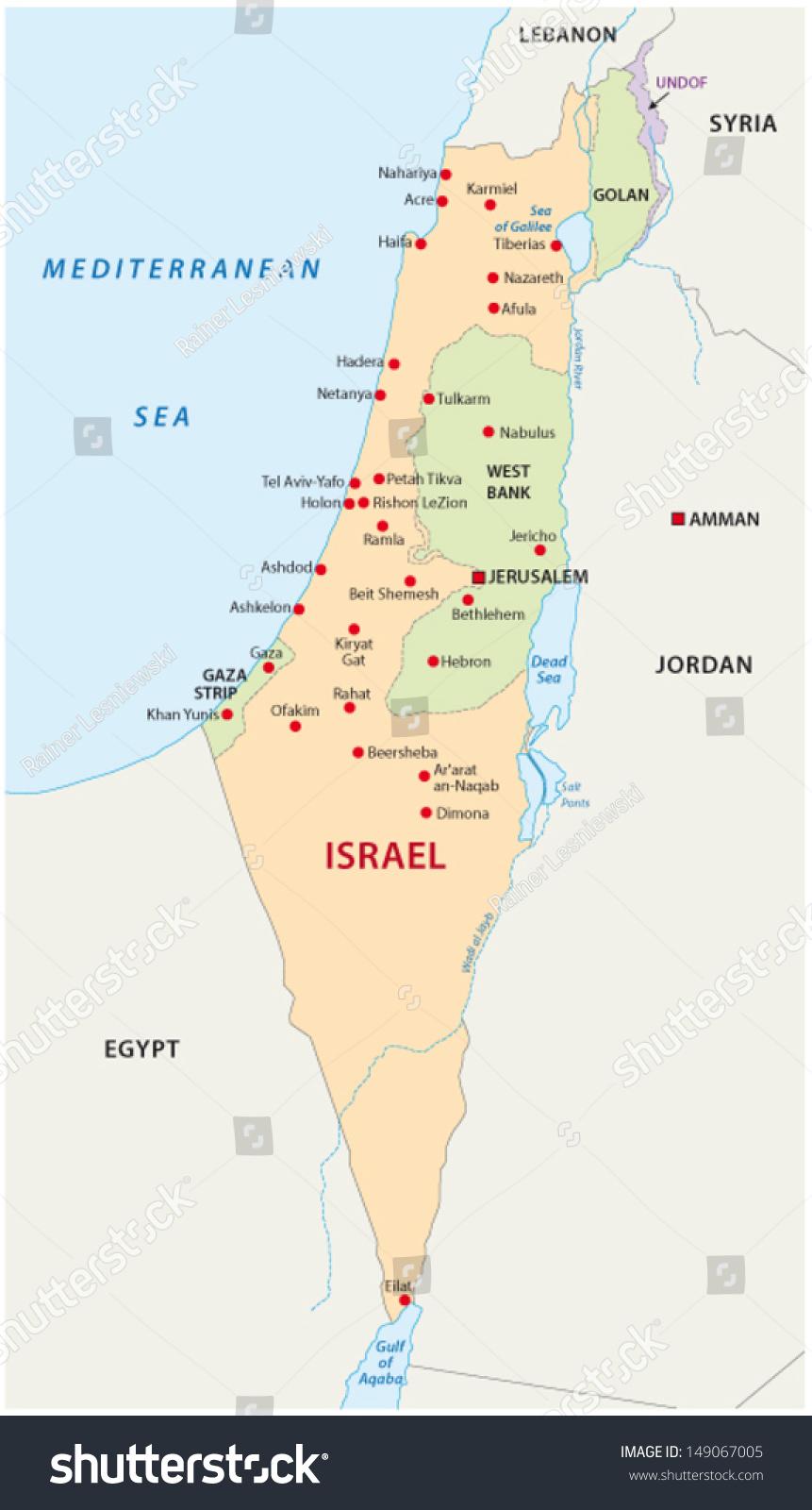 Israel Map Stock Vector 149067005 Shutterstock