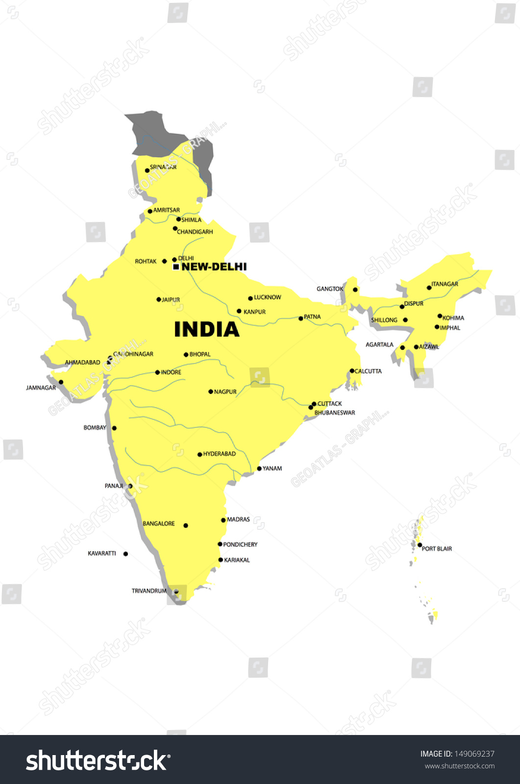 Royalty Free Stock Illustration of Simple Map India Stock