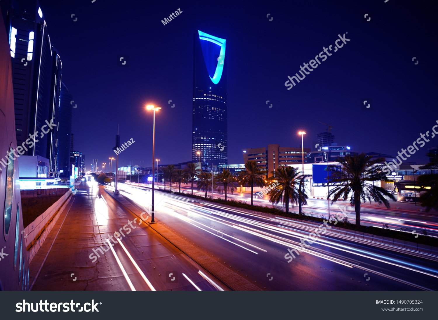 Riyadh, Saudi Arabia's capital and main financial hub-King Fahad Road at night                         #1490705324