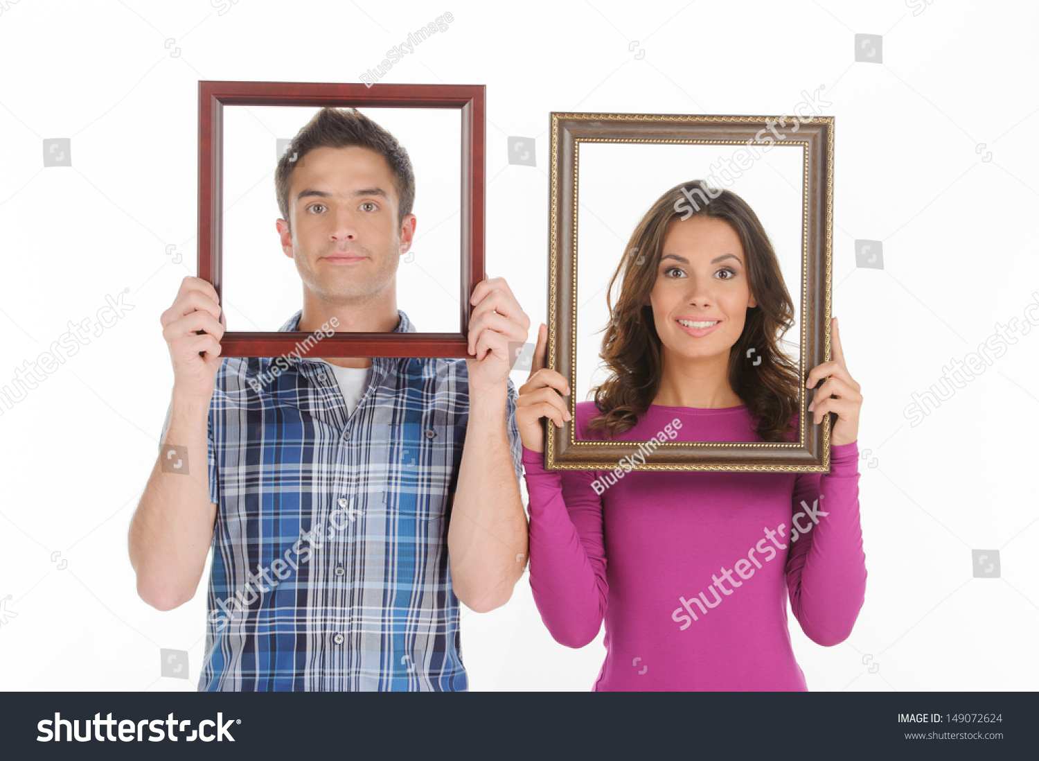 Couple picture frames beautiful young couple stock photo 149072624 couple picture frames beautiful young couple stock photo 149072624 shutterstock jeuxipadfo Choice Image