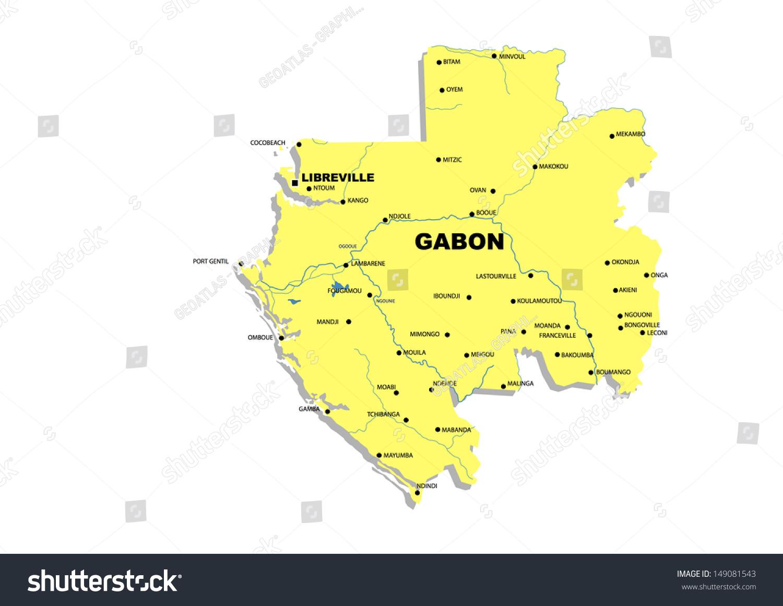 Simple Map Gabon Stock Illustration 149081543 Shutterstock