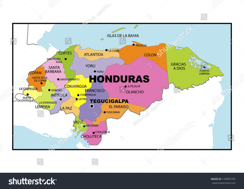 Administrative Map Honduras Stock Illustration 149081555 Shutterstock
