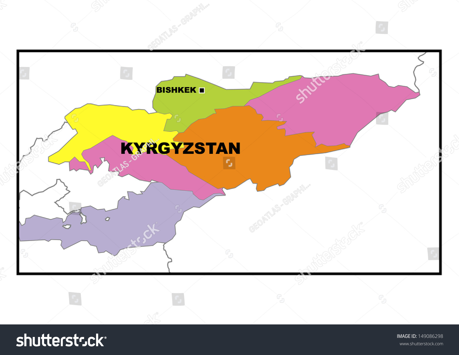 Administrative Map Kyrgyzstan Stock Illustration 149086298