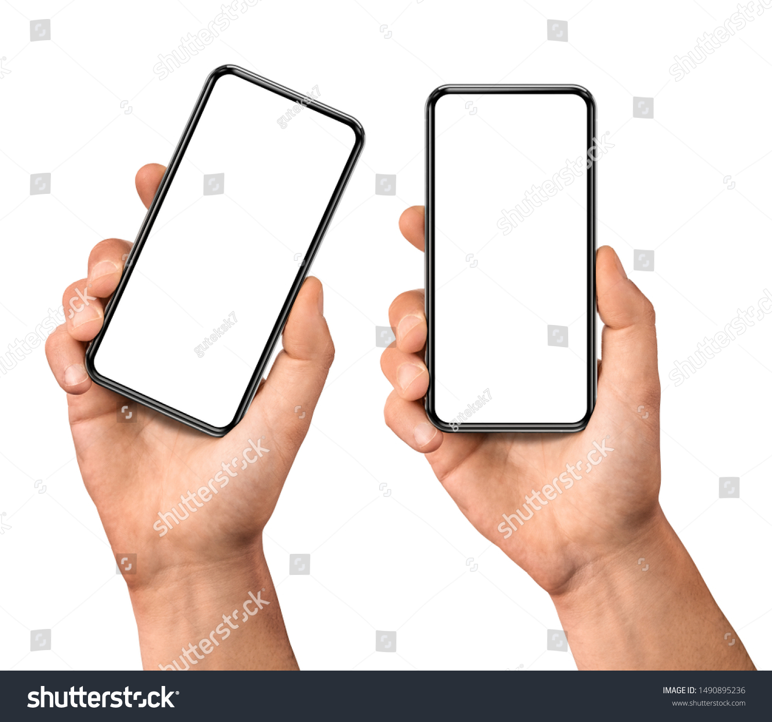 Man hand holding the black smartphone  blank screen with modern frameless design, two positions vertical and rotated - isolated on white background #1490895236