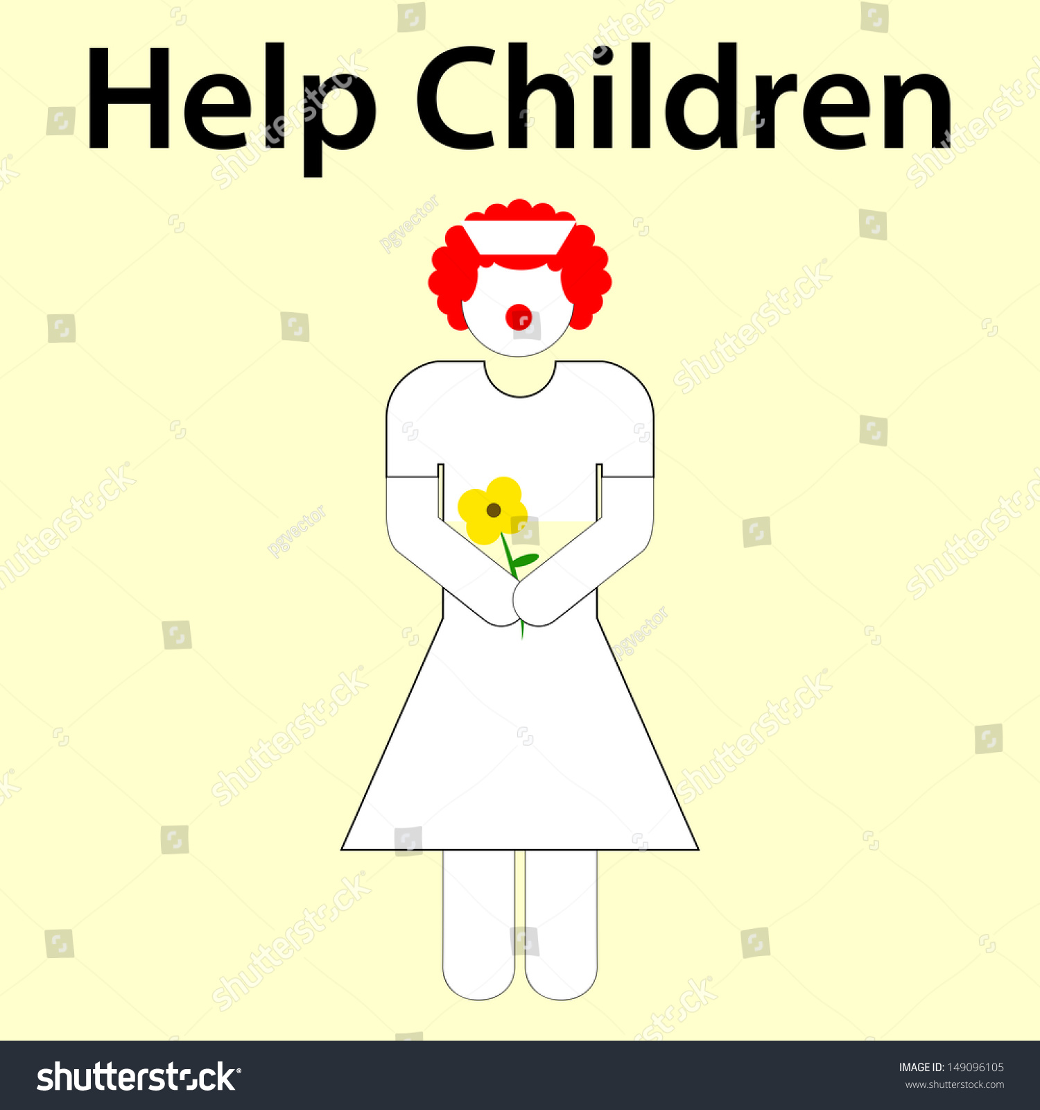Symbolism woman white uniform yellow flower stock vector 149096105 symbolism of a woman in a white uniform and a yellow flower who helps children mightylinksfo