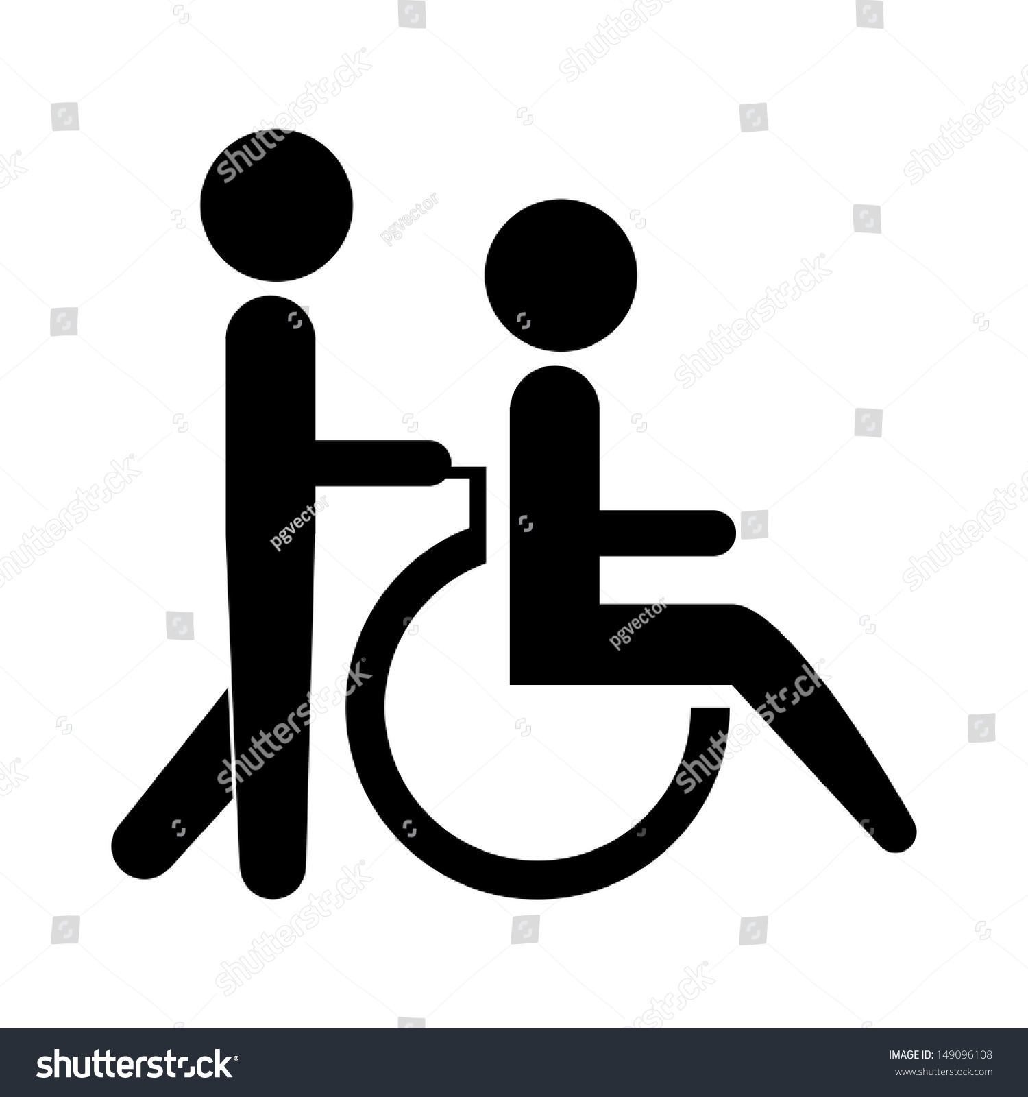 Silhouette Of A Person Helping Another Push A Wheelchair