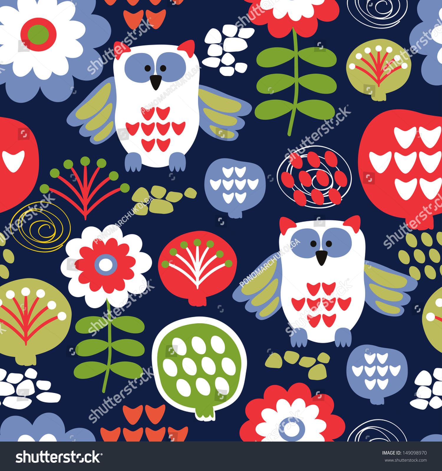 background wallpaper birds flowers seamless pattern stock vector