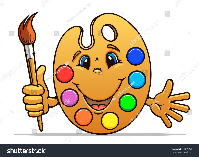 Cartoon Art Pallet Art Palette Paints Bru...