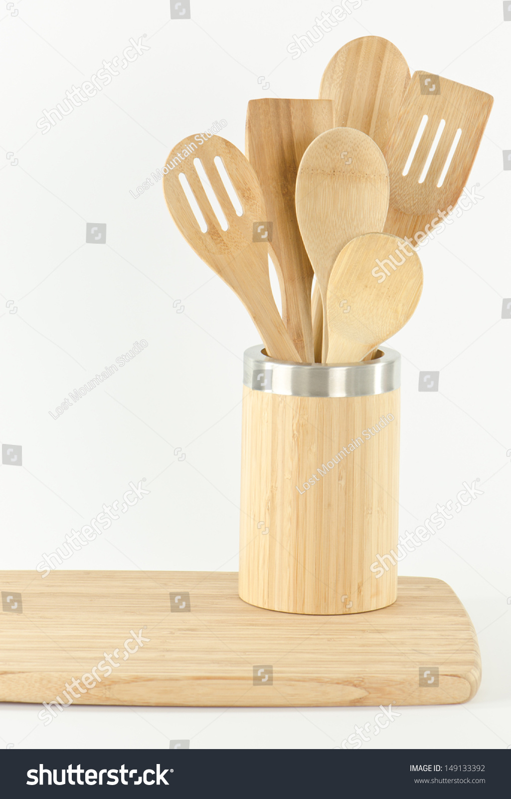 Bamboo Kitchen Utensils Container And Cutting Board Stock