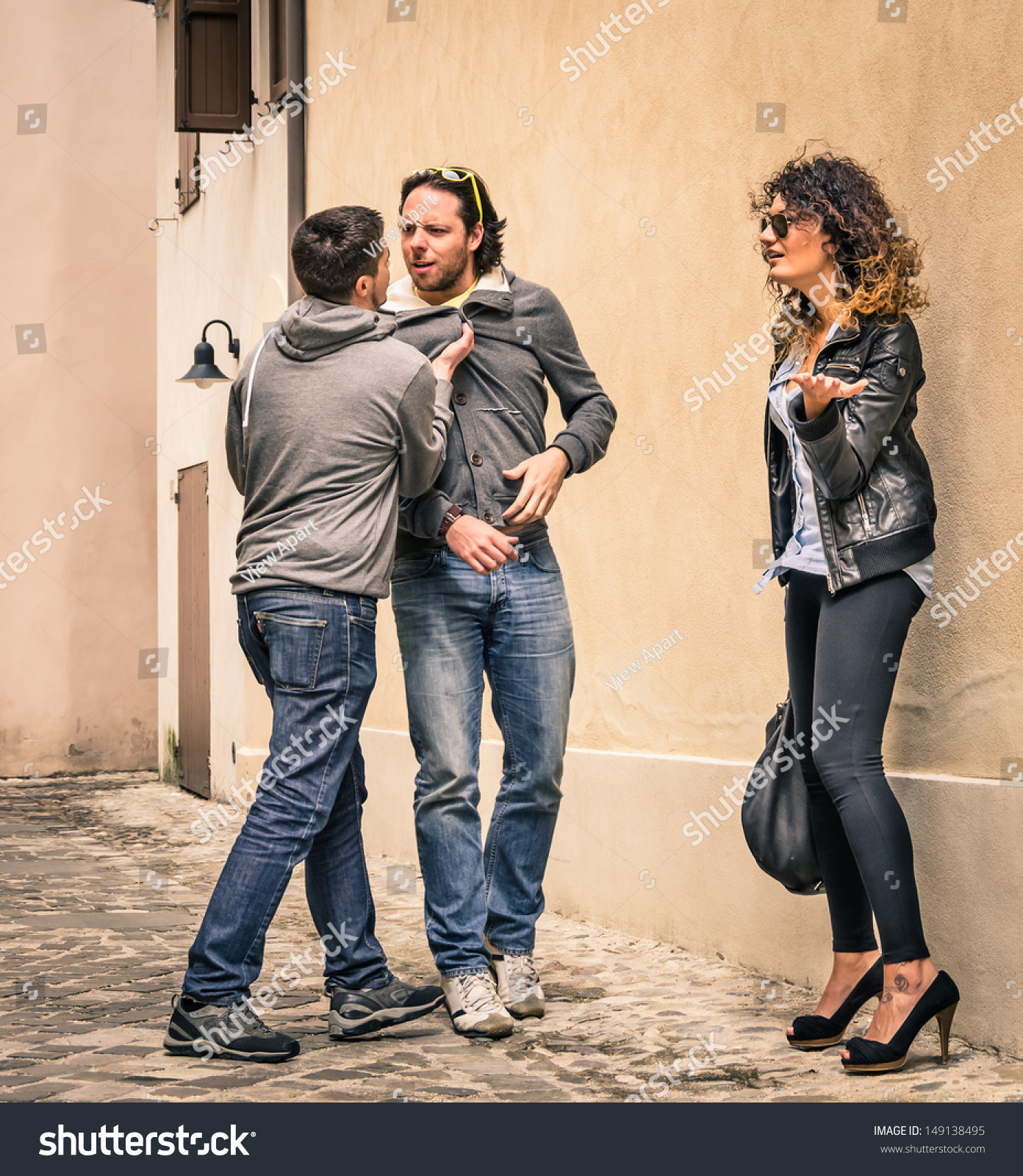Two Guys Fighting Over Girl Stock Photo 149138495