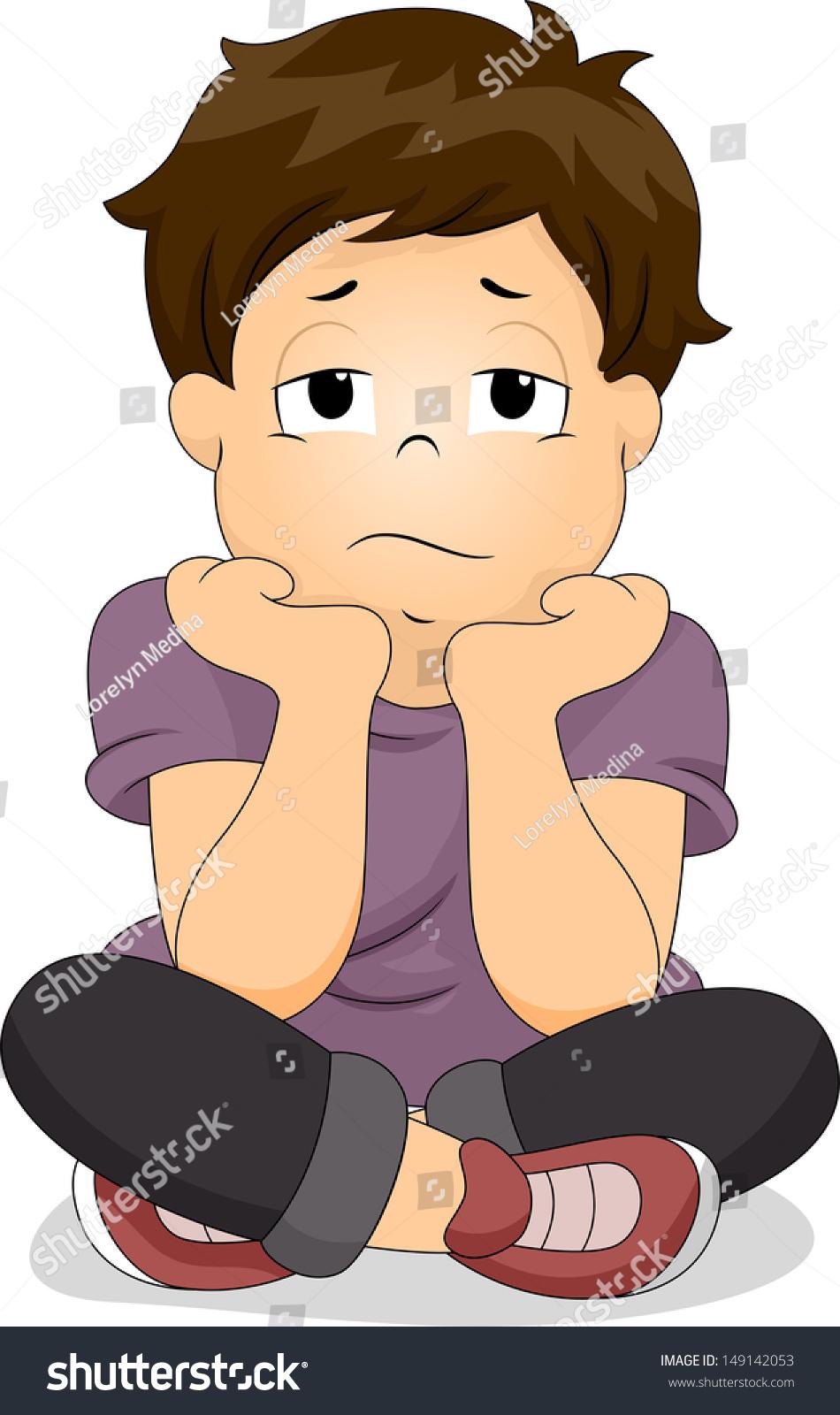 Illustration Bored Boy His Chin Resting Stock Vector ...