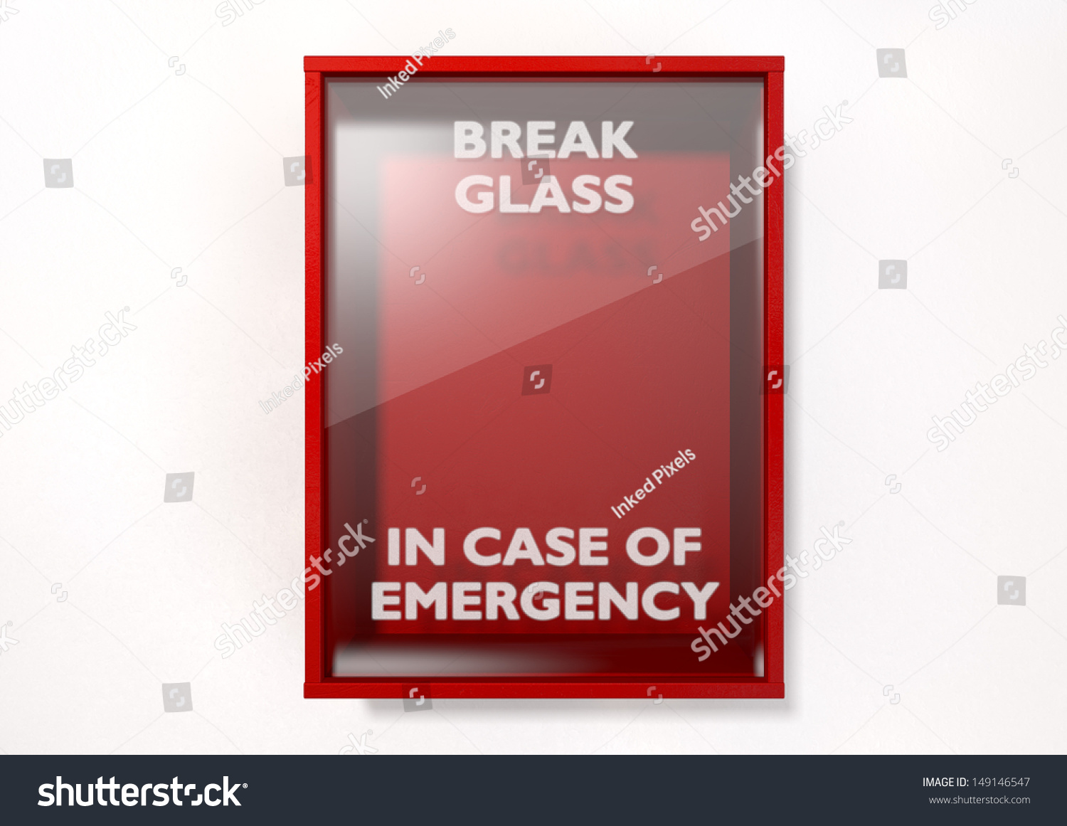 Empty Red Emergency Box Case Emergency Stock Illustration 149146547