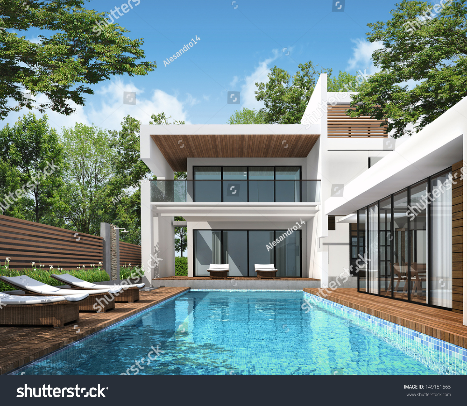 3d rendering tropical house exterior stock illustration for Exterior 3d rendering