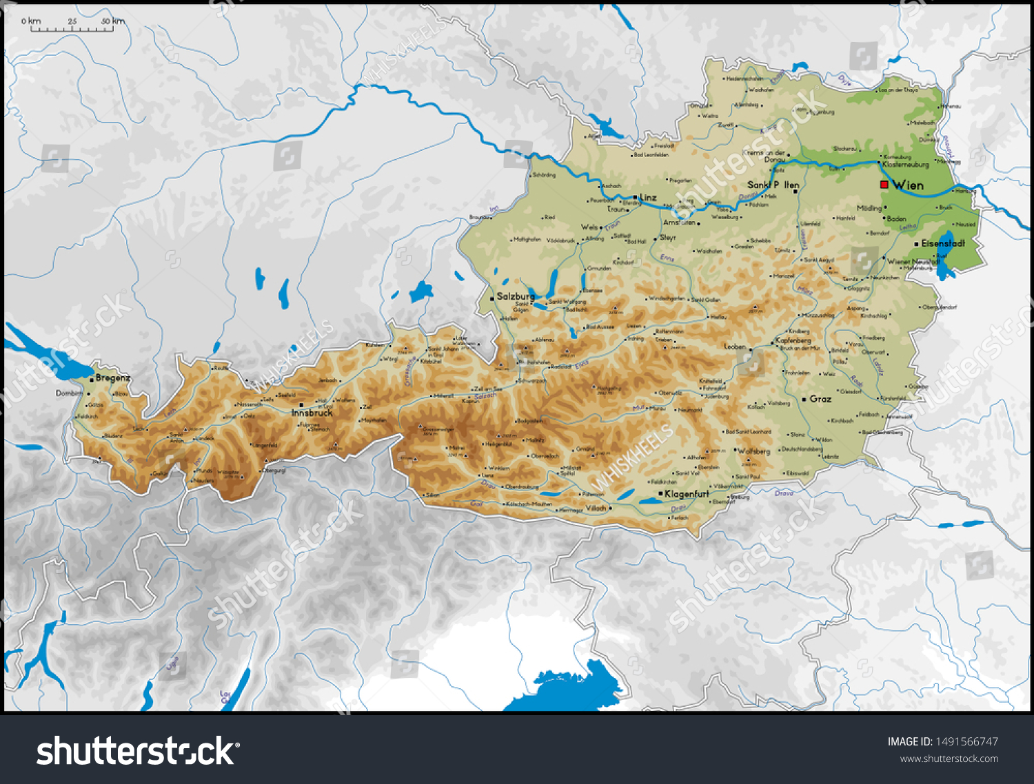 Picture of: High Detailed Austria Physical Map Cities Stock Vector Royalty Free 1491566747