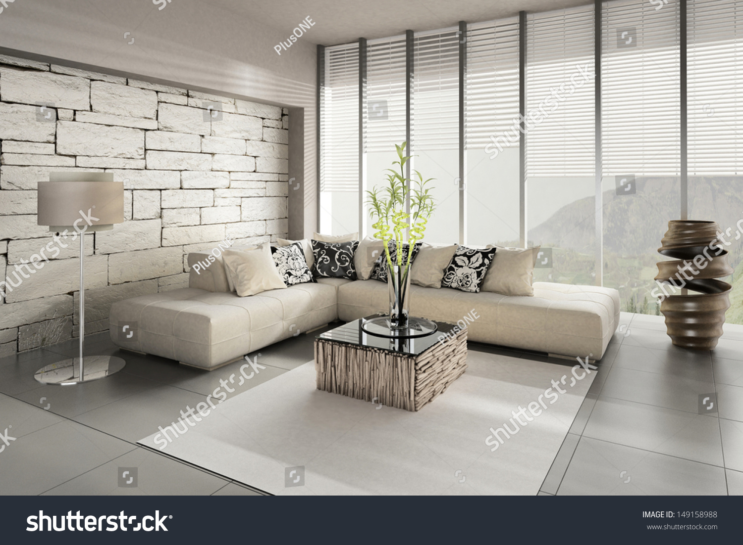 3d Rendering Of Loft Apartment Interior Stock Photo