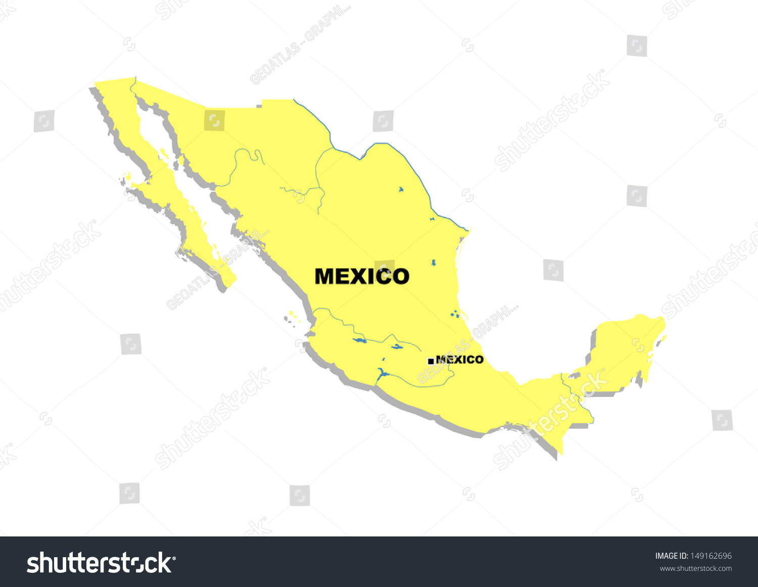 Simple Map Mexico Stock Illustration   Royalty Free Stock