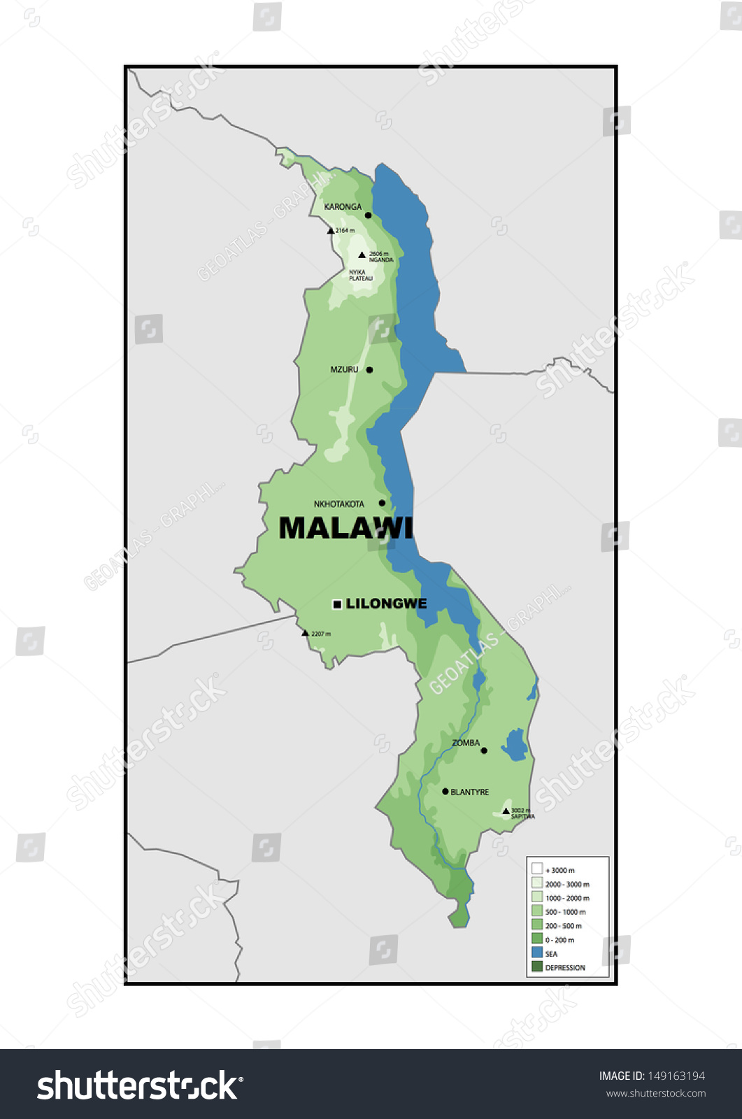 Physical Map Malawi Stock Illustration 149163194 Shutterstock