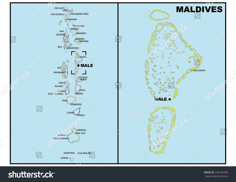 Simple Map Maldives Stock Illustration 149163200 Shutterstock