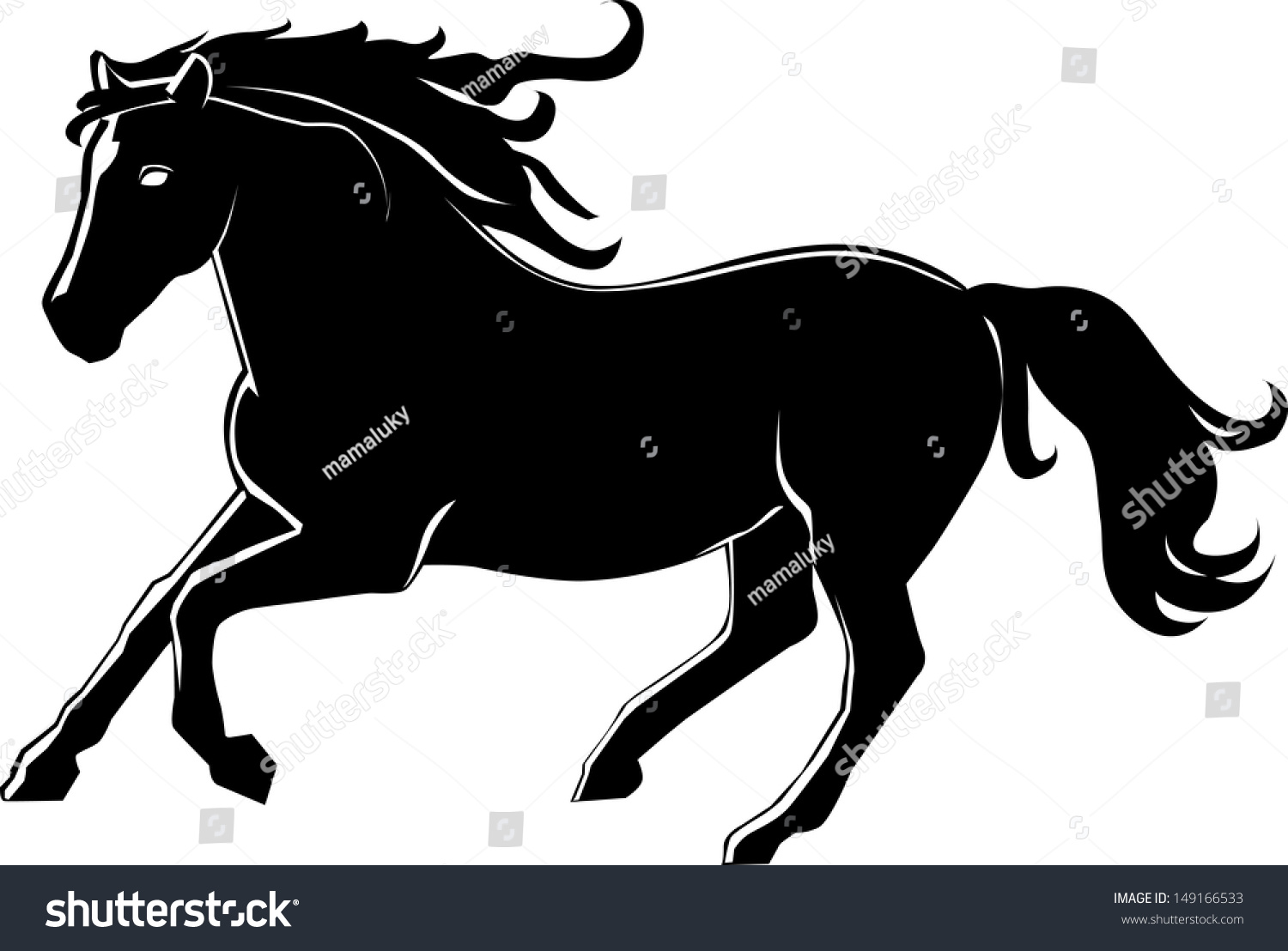 Vector Illustration Running Horse Black Horse Stock Vector Royalty Free 149166533