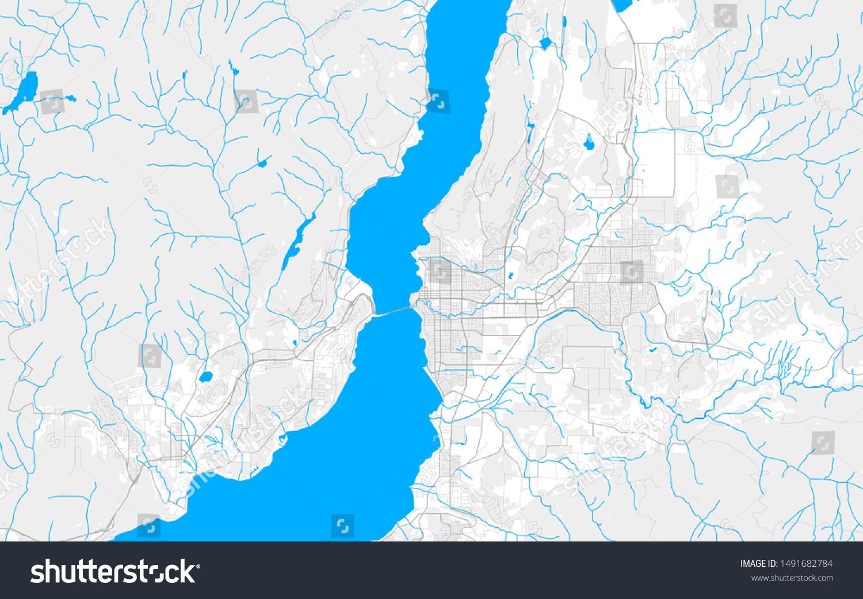 Rich Detailed Vector Area Map Kelowna Stock Vector Royalty Free 1491682784