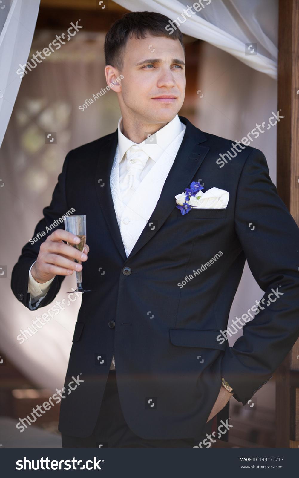 Handsome Groom Wedding Tuxedo Smiling Waiting Stock Photo ...