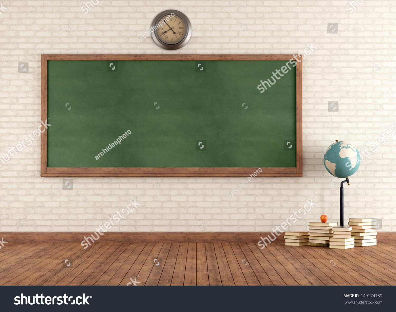 Empty cartoon classroom background - Empty Vintage Classroom With Green Blackboard Against Brick Wall Rendering