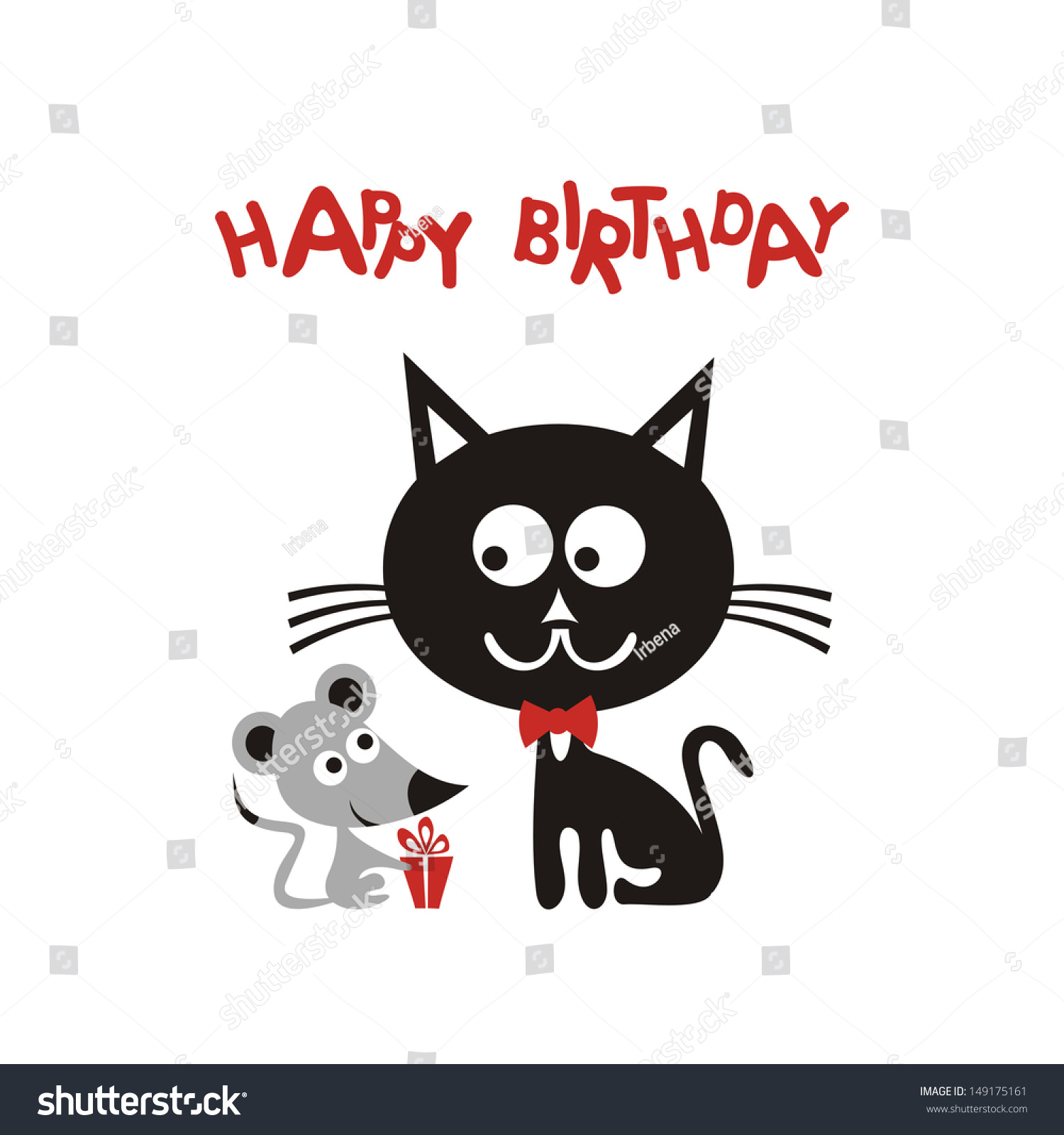 Happy birthday greeting card cartoon cute stock vector royalty free happy birthday greeting card with cartoon cute mouse and black cat gift vector illustration m4hsunfo