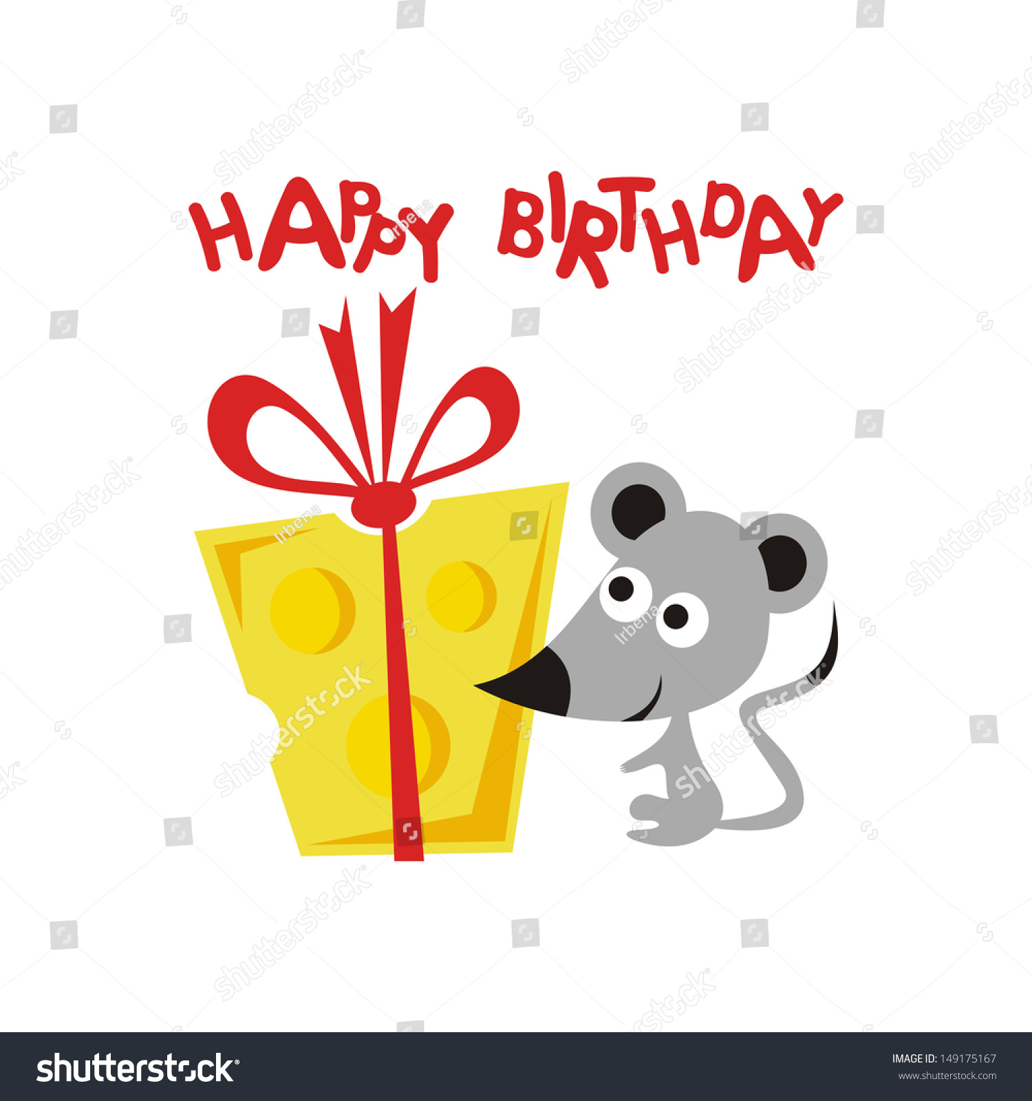 Happy Birthday Greeting Card Cartoon Cute Stock Vector