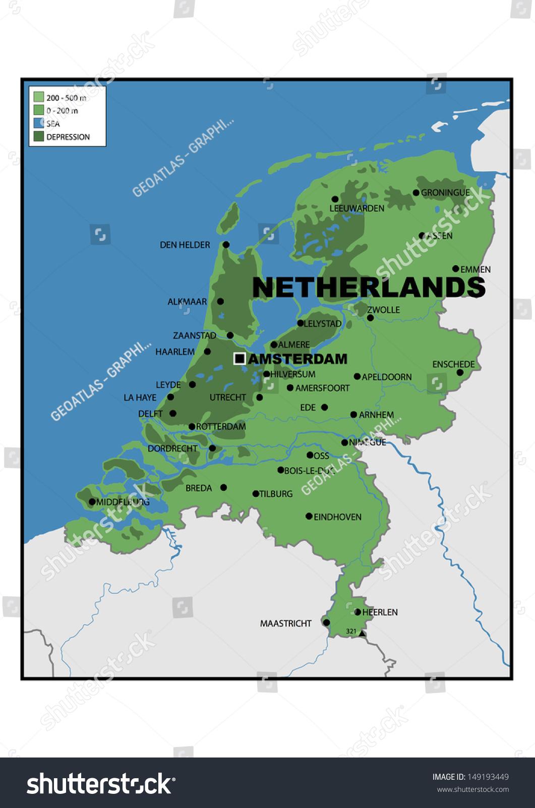 Image of: Physical Map Netherlands Stock Illustration 149193449