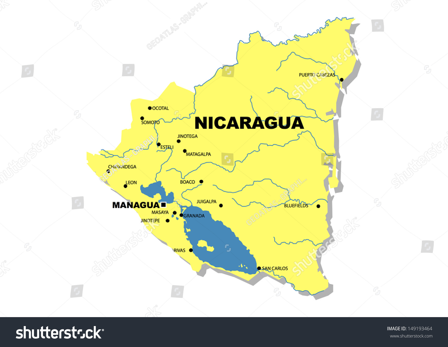 Simple Map Nicaragua Stock Illustration 149193464 Shutterstock