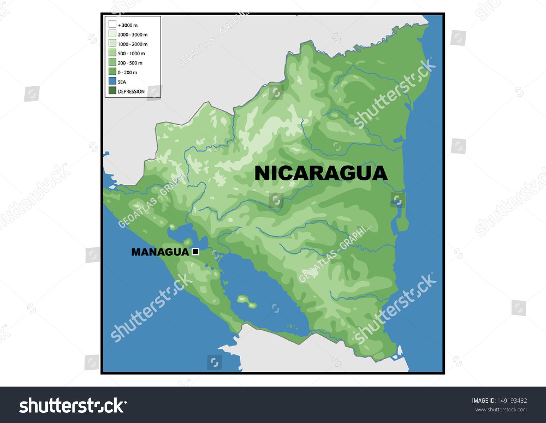 Physical Map Nicaragua Stock Illustration 149193482 Shutterstock