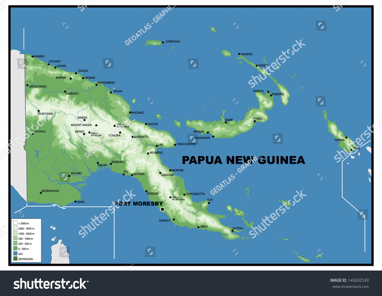Picture of: Ilustracion De Stock Sobre Physical Map Papua New Guinea 149202539