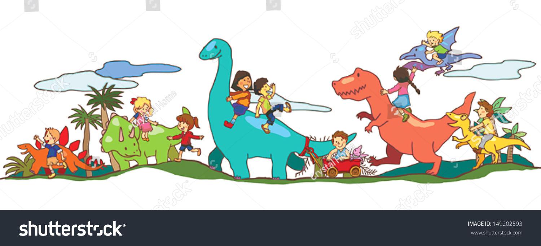 Cartoon Dinosaur World Imagination Kids Children Stock ...