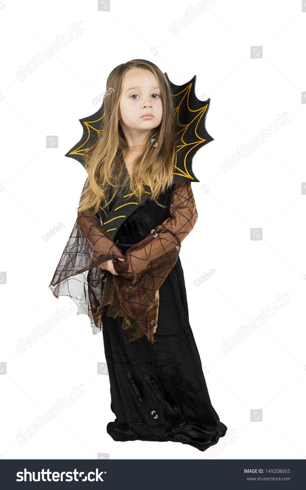 cute little girl halloween costume dark stock photo (edit now
