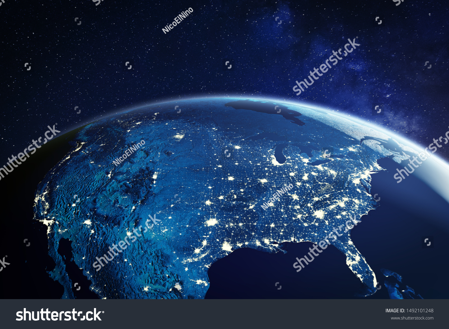 USA from space at night with city lights showing American cities in United States, global overview of North America, 3d rendering of planet Earth, elements from NASA #1492101248
