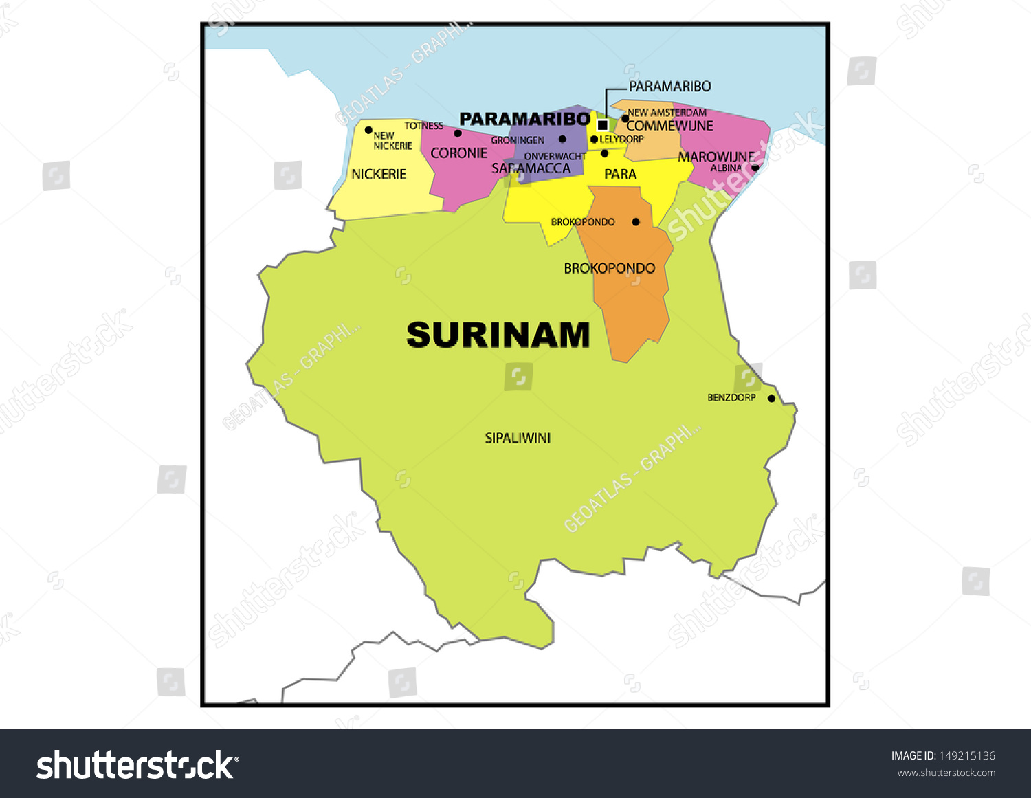 Map Suriname South America Stock what is organogram