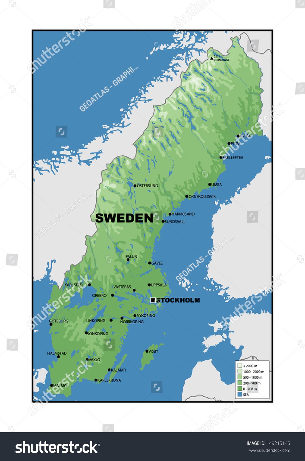 Physical Map Sweden Stock Illustration Shutterstock - Sweden map halmstad
