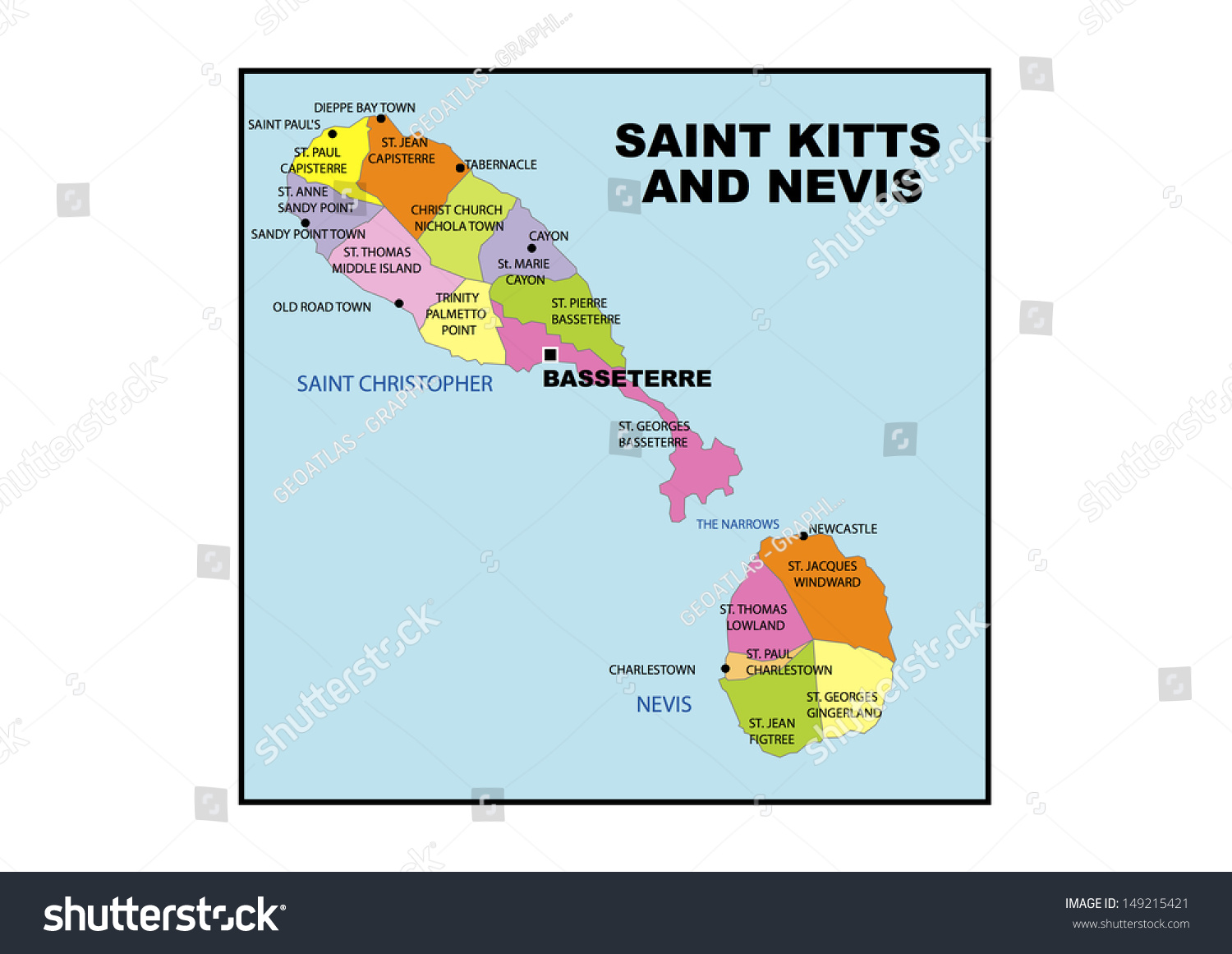 Administrative Map Saint Kitts Nevis Stock Illustration ... on st thomas tortola, st thomas caribbean, st thomas usvi, st thomas barbados, st thomas virgin islands, st thomas st maarten, st thomas antigua, st thomas st croix,