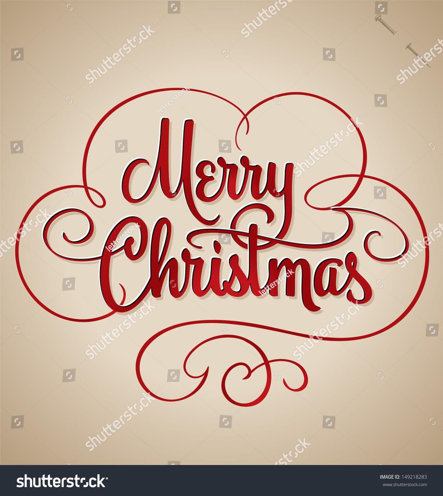 Merry Christmas Hand Lettering Handmade Calligraphy Stock Vector ...