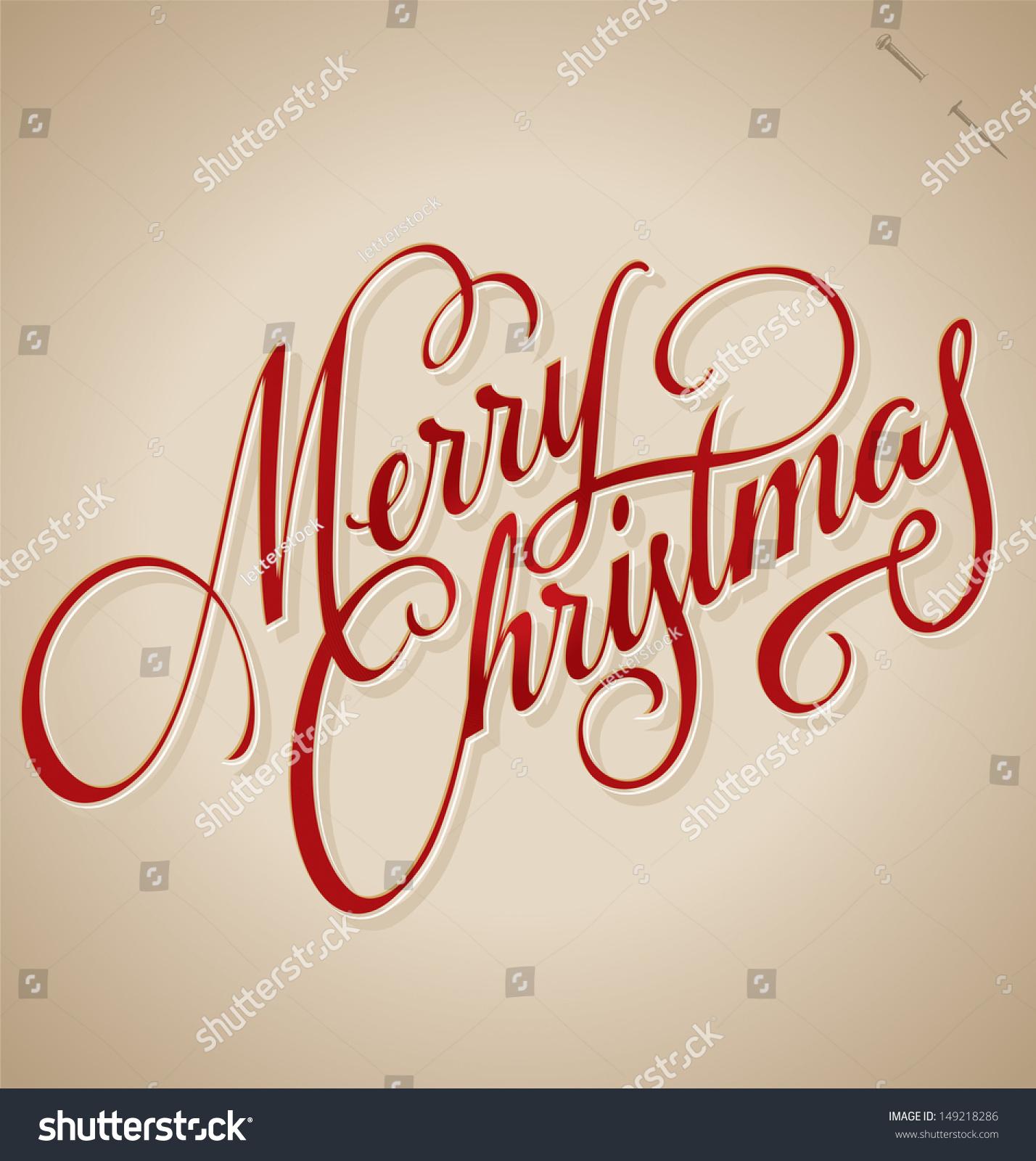 Merry Christmas Hand Lettering Handmade Calligraphy Stock