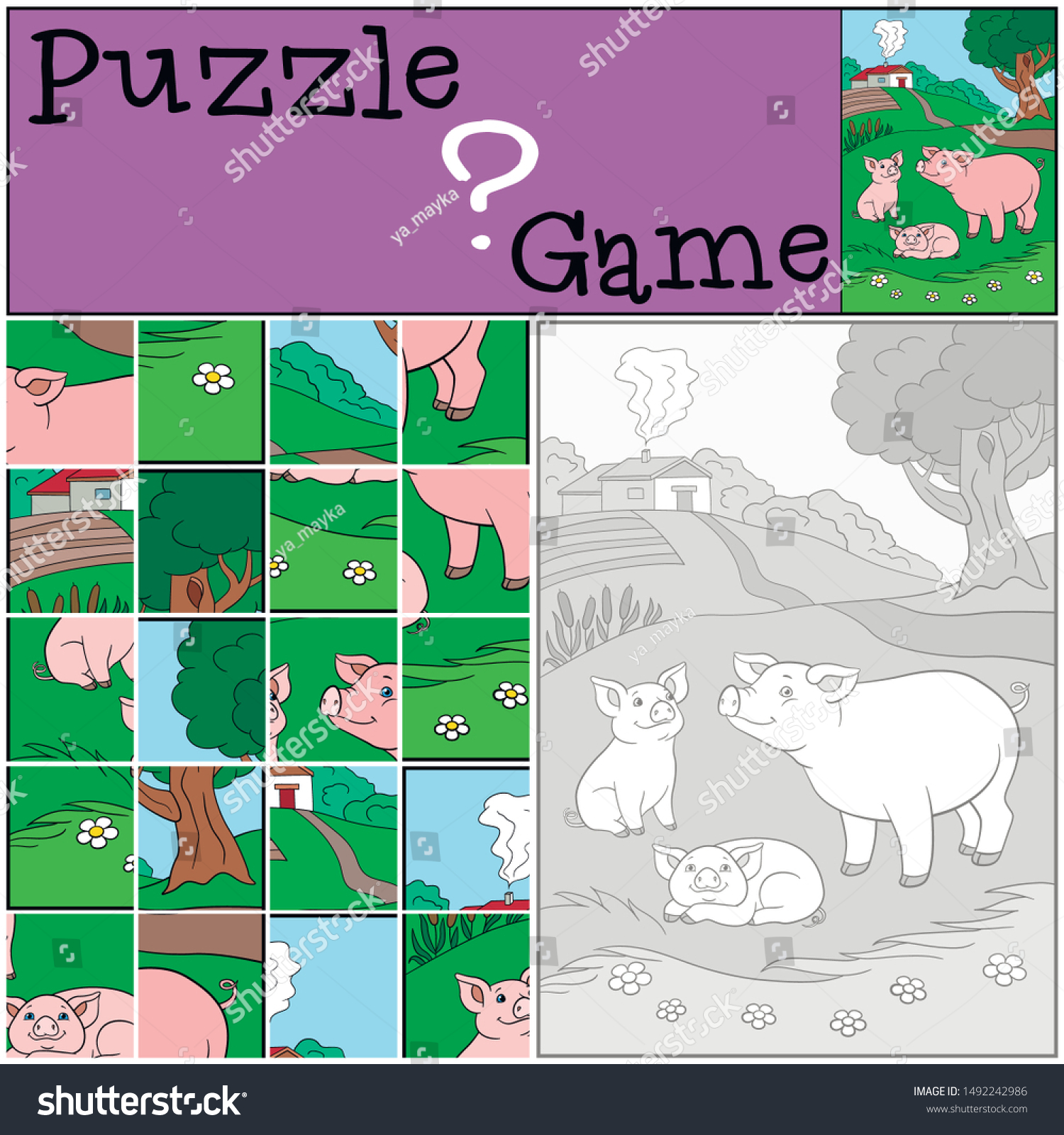 Education Games Kids Puzzle Mother Pig Stock Image Download Now