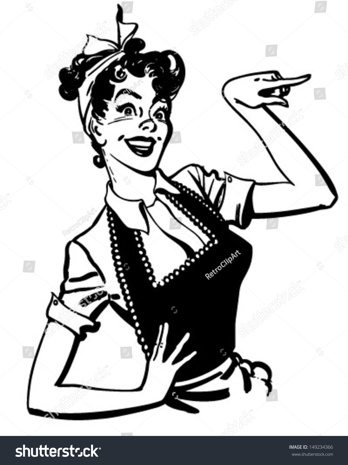 Pointing Housewife Retro Clip Art Illustration Stock ...