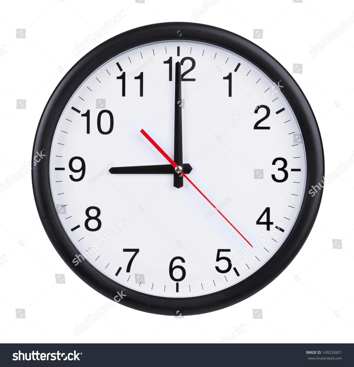 Nine Hours On Round Clock Face Stock Photo 149235821