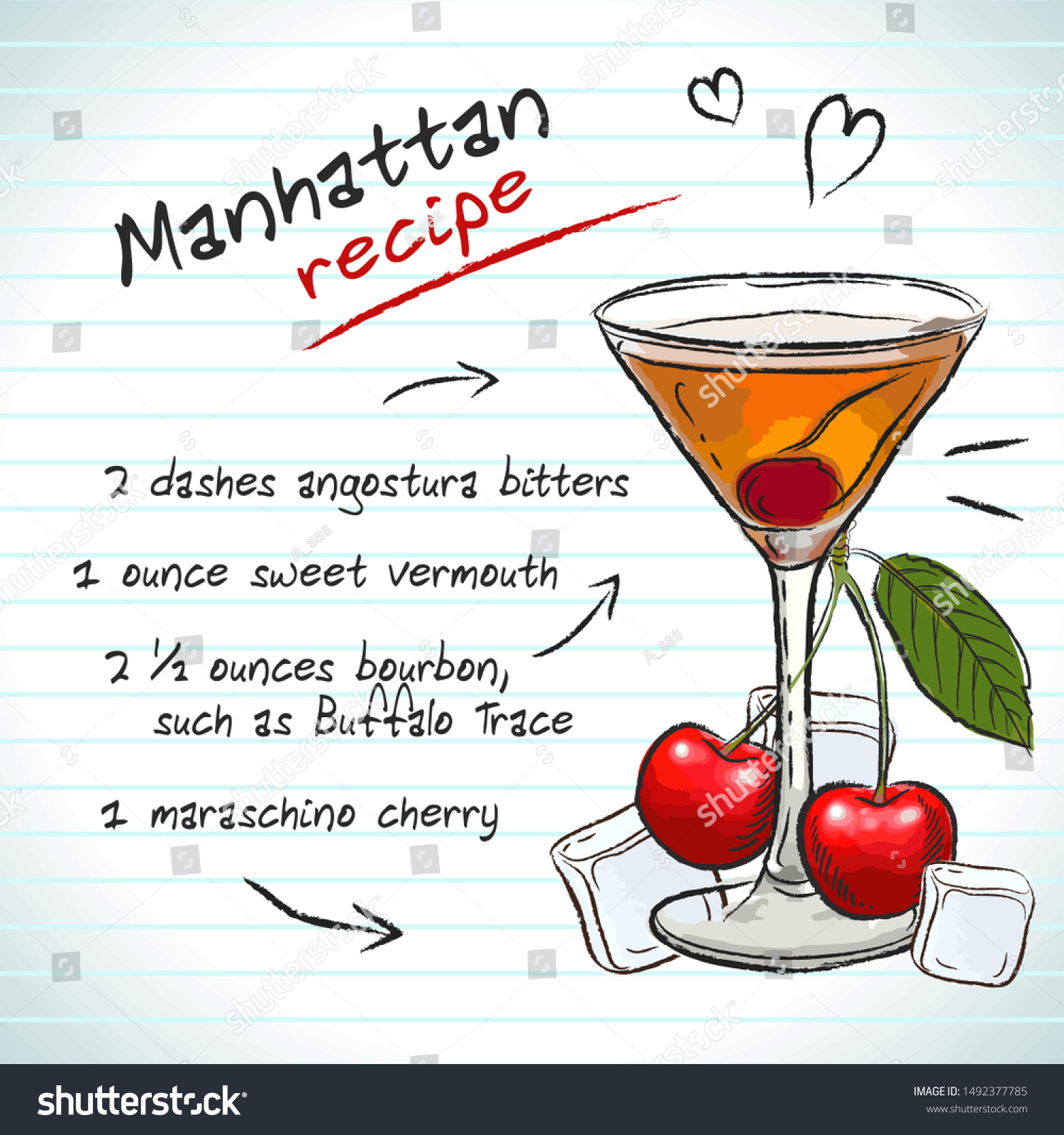 Manhattan Cocktail Vector Sketch Hand Drawn Stock Vector Royalty Free 1492377785