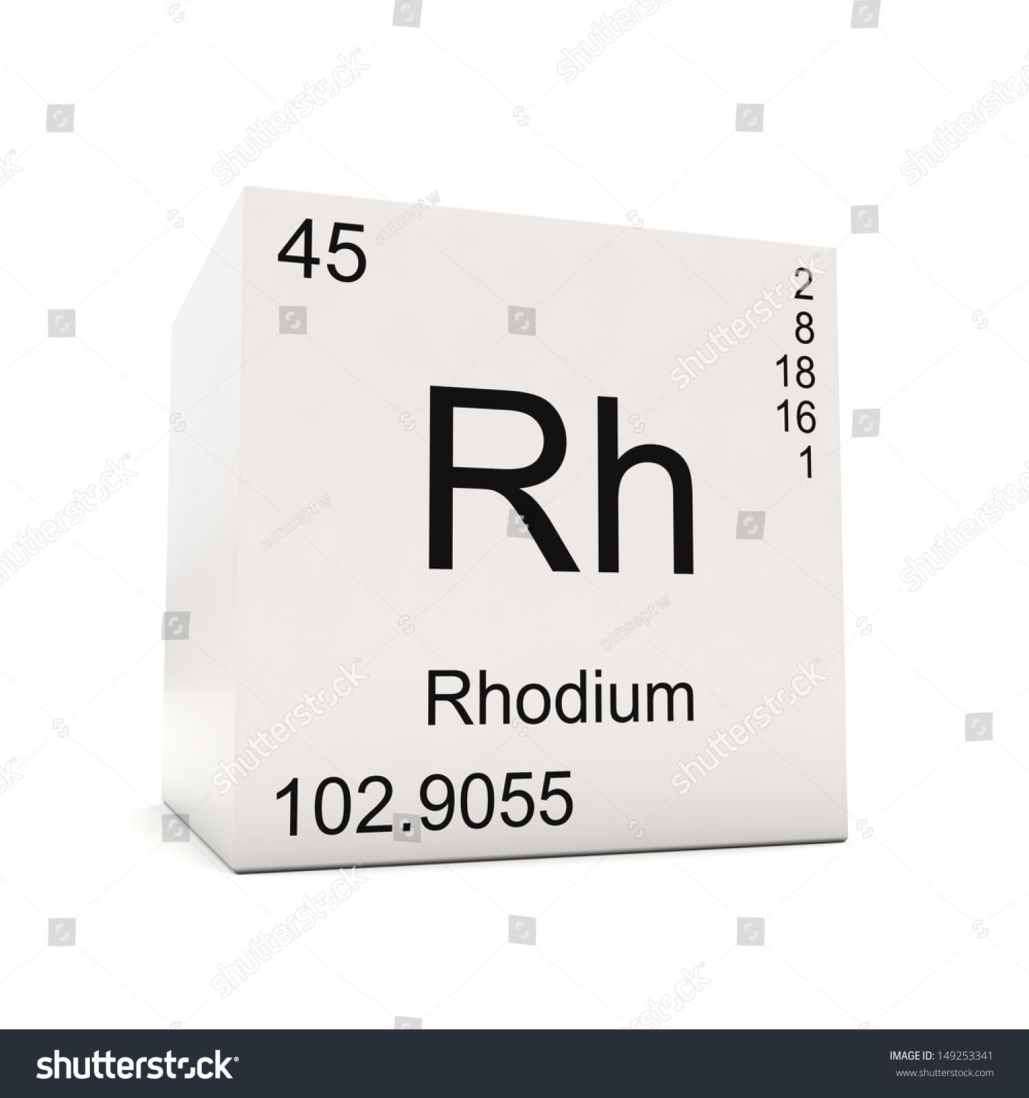 Cube rhodium element periodic table isolated stock illustration cube of rhodium element of the periodic table isolated on white background gamestrikefo Image collections